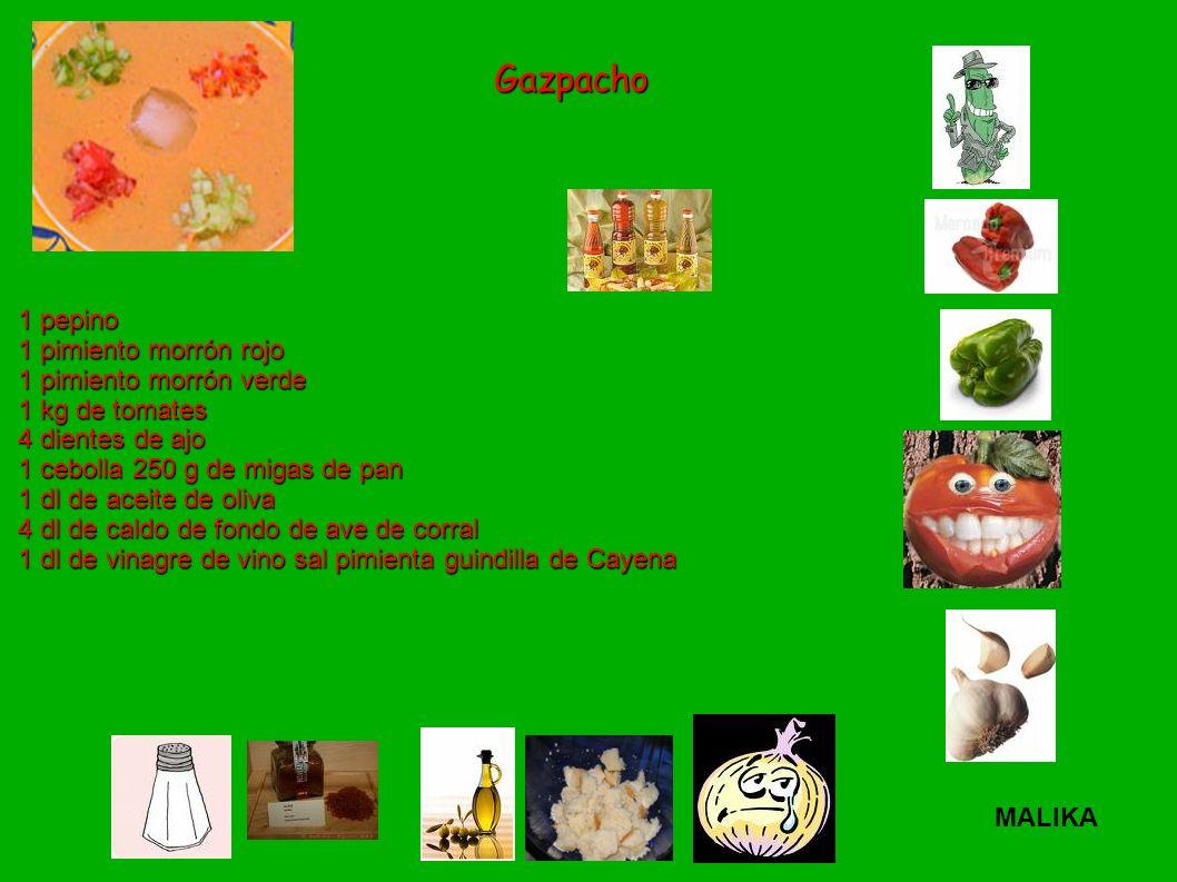 Gazpacho 1 pepino 1 pimiento morrón rojo 1 pimiento morrón verde