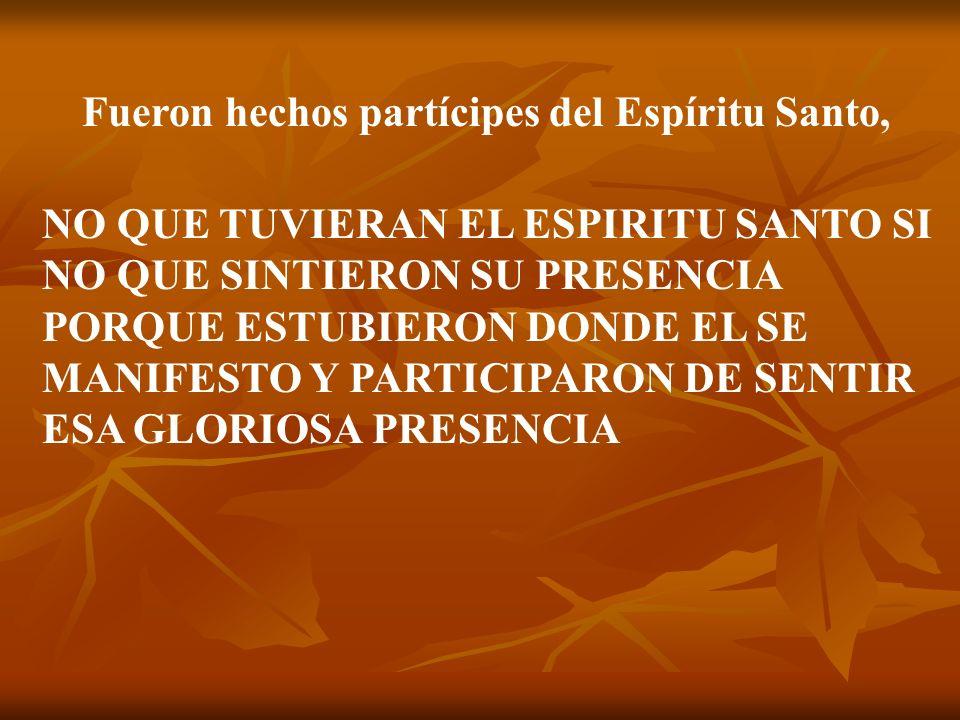 Fueron hechos partícipes del Espíritu Santo,