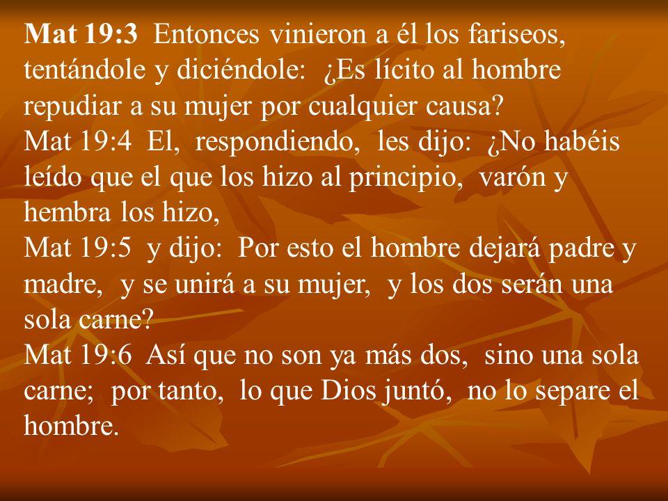 Mat 19:3 Entonces vinieron a él los fariseos, tentándole y diciéndole: ¿Es lícito al hombre repudiar a su mujer por cualquier causa