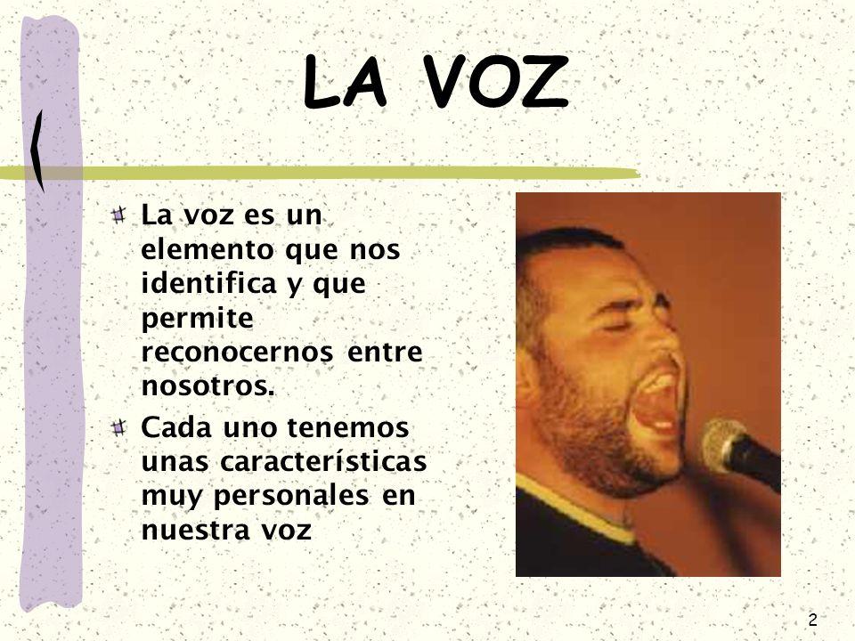 LA VOZ La voz es un elemento que nos identifica y que permite reconocernos entre nosotros.