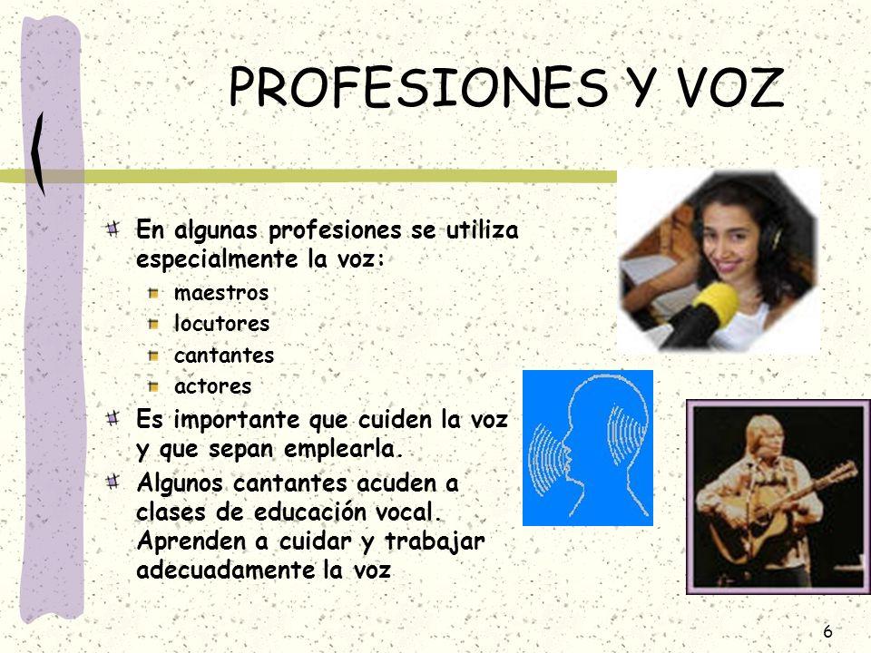 PROFESIONES Y VOZEn algunas profesiones se utiliza especialmente la voz: maestros. locutores. cantantes.