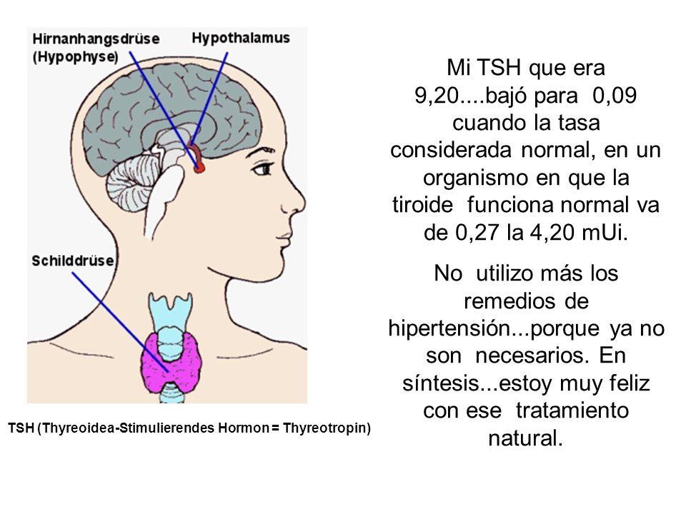 Mi TSH que era 9,20....bajó para 0,09 cuando la tasa considerada normal, en un organismo en que la tiroide funciona normal va de 0,27 la 4,20 mUi.