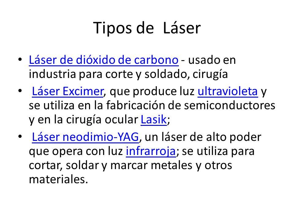 Tipos de LáserLáser de dióxido de carbono - usado en industria para corte y soldado, cirugía.
