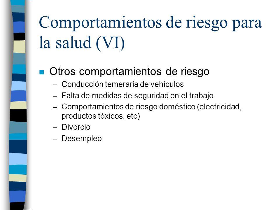 Comportamientos de riesgo para la salud (VI)