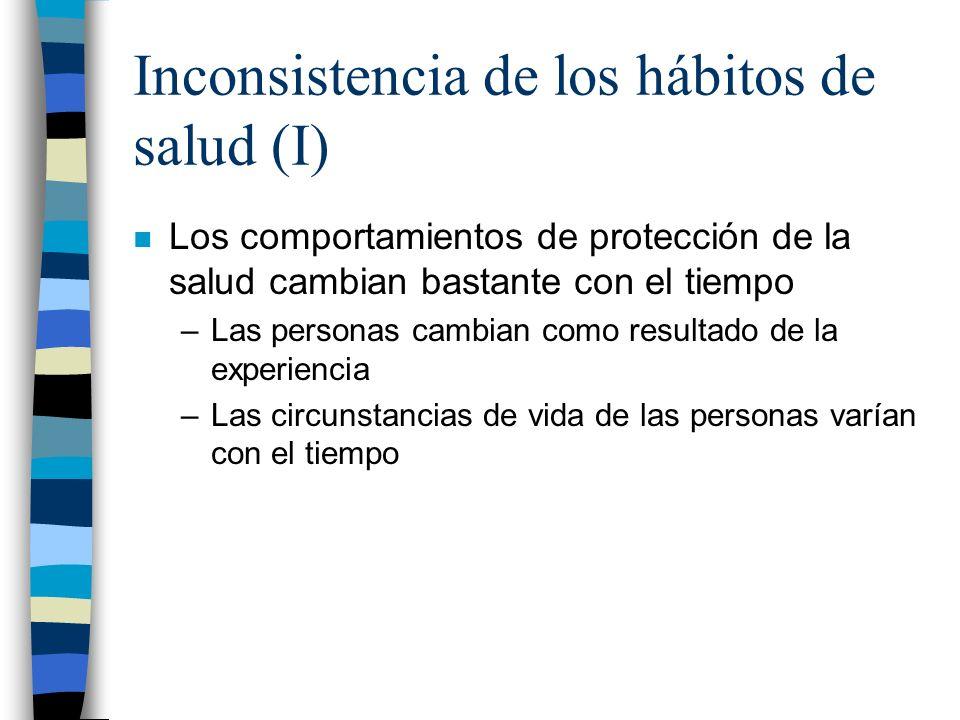 Inconsistencia de los hábitos de salud (I)