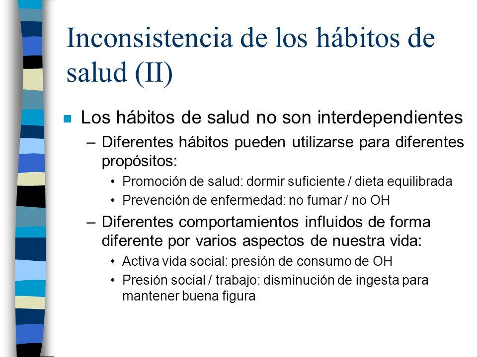 Inconsistencia de los hábitos de salud (II)