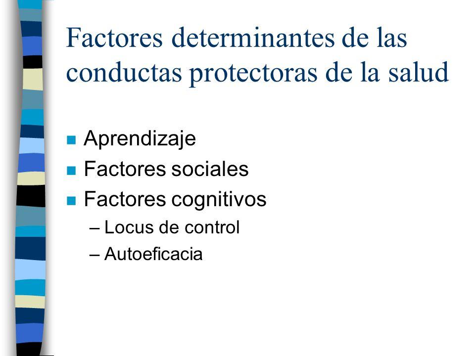 Factores determinantes de las conductas protectoras de la salud