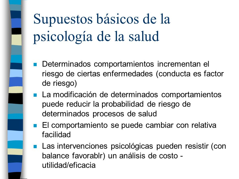 Supuestos básicos de la psicología de la salud