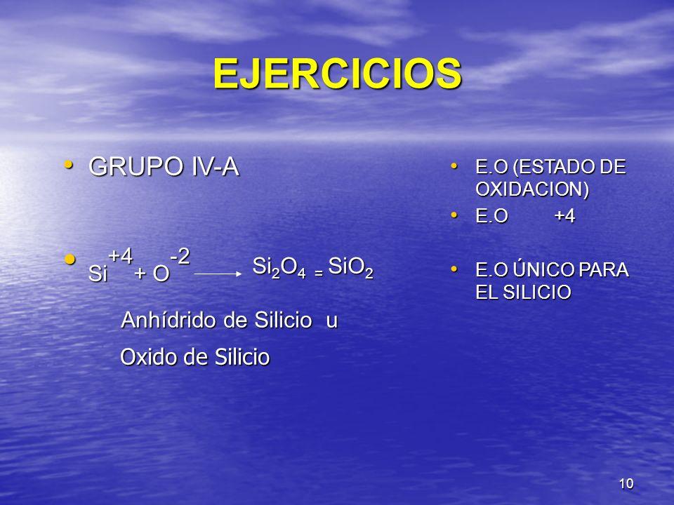 EJERCICIOS Si+4+ O-2 Si2O4 = SiO2 GRUPO IV-A Oxido de Silicio