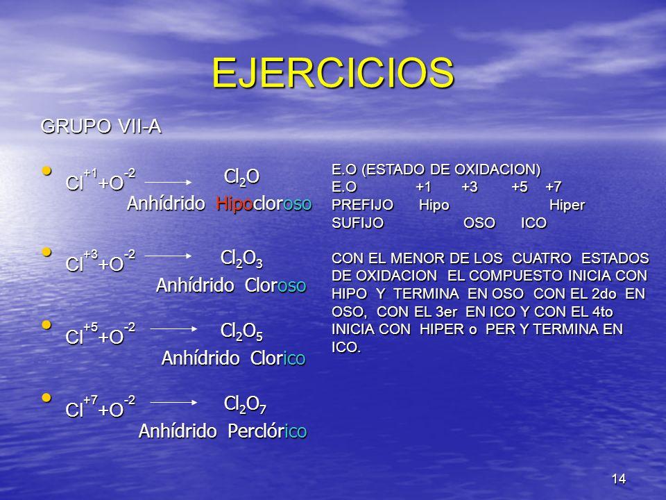 EJERCICIOS GRUPO VII-A Cl+1+O-2 Cl2O Cl+3+O-2 Cl2O3 Cl+5+O-2 Cl2O5