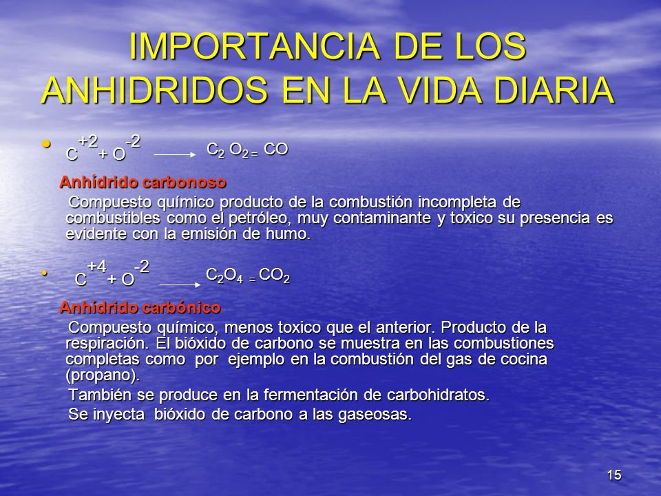 IMPORTANCIA DE LOS ANHIDRIDOS EN LA VIDA DIARIA