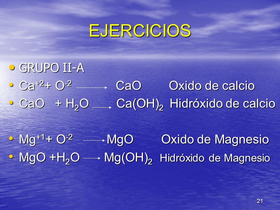 EJERCICIOS GRUPO II-A Ca+2+ O-2 CaO Oxido de calcio
