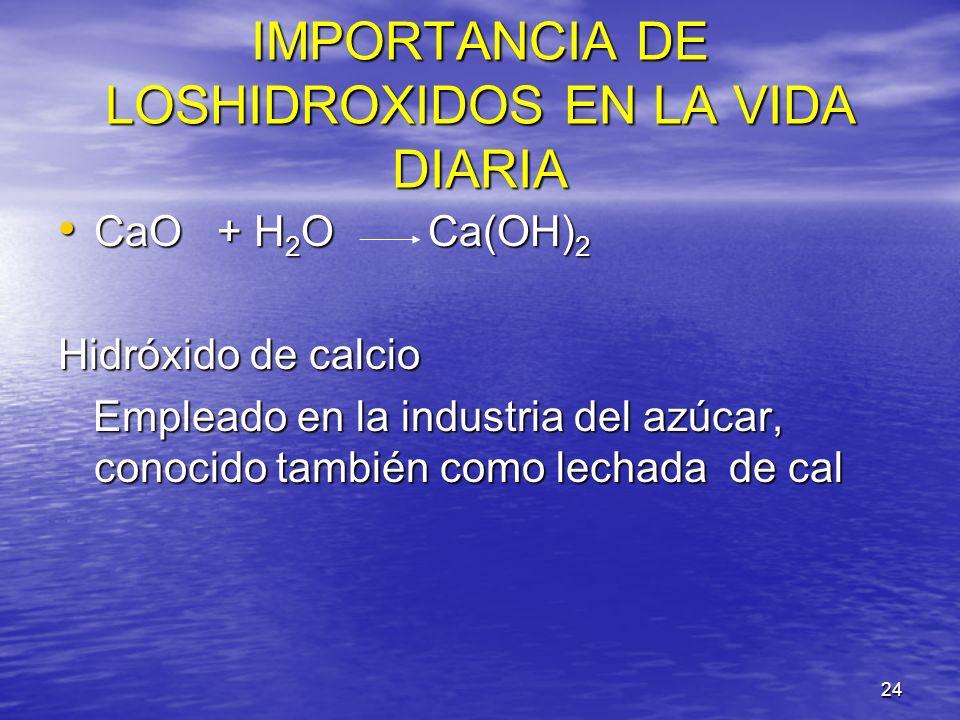 IMPORTANCIA DE LOSHIDROXIDOS EN LA VIDA DIARIA