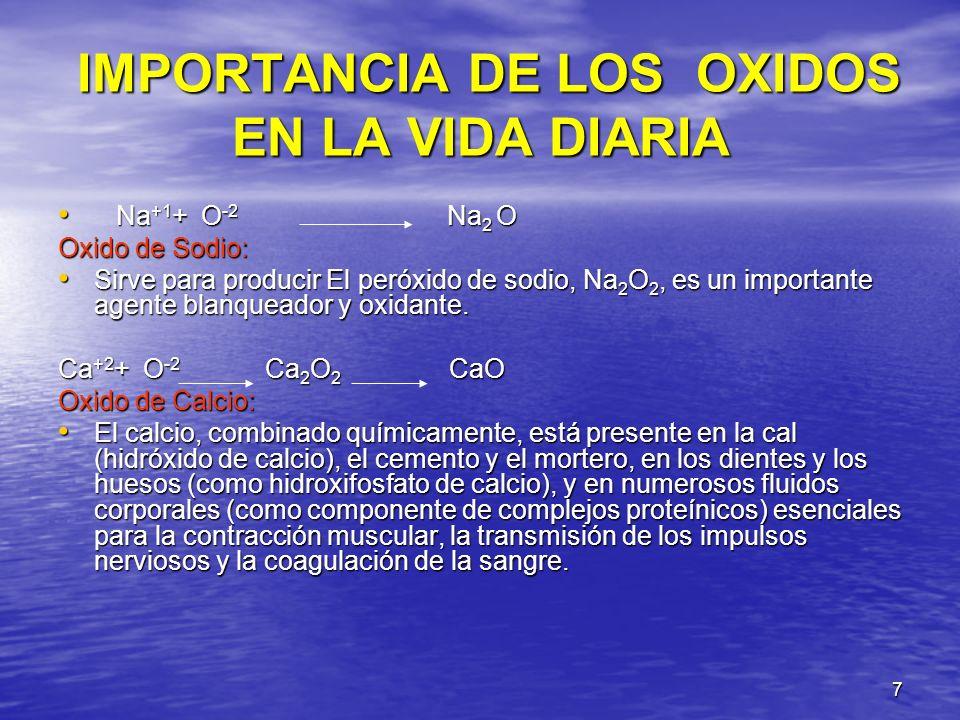 IMPORTANCIA DE LOS OXIDOS EN LA VIDA DIARIA