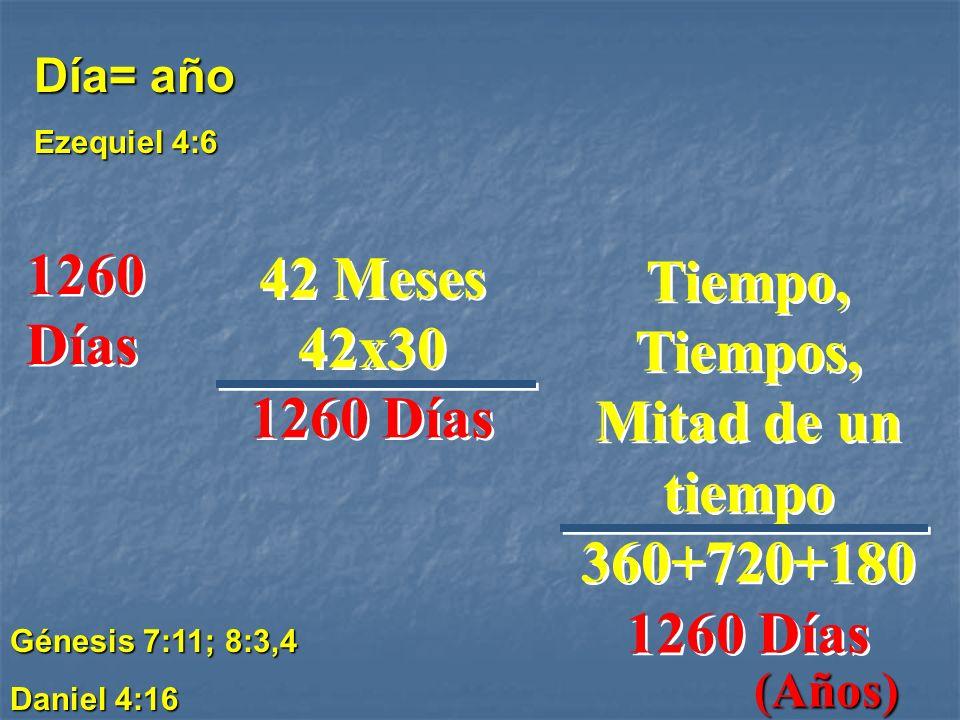 Tiempo, Tiempos, Mitad de un tiempo 360+720+180 1260 Días