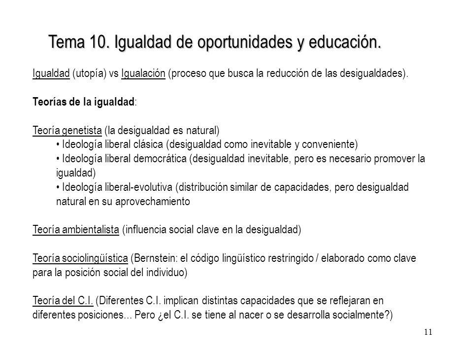Tema 10. Igualdad de oportunidades y educación.