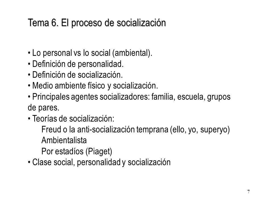 Tema 6. El proceso de socialización