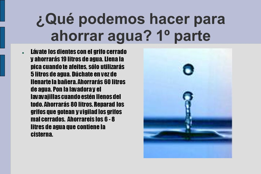 ¿Qué podemos hacer para ahorrar agua 1º parte