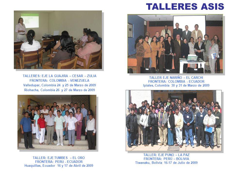 TALLERES ASIS 12 TALLERES: EJE LA GUAJIRA – CESAR – ZULIA