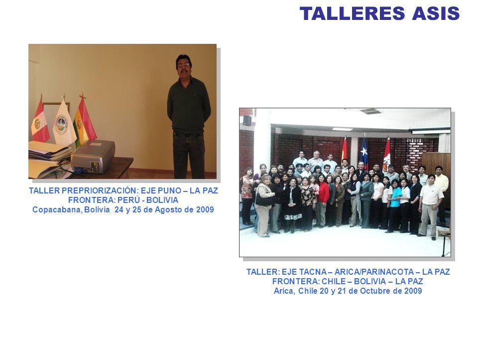 TALLERES ASIS TALLER PREPRIORIZACIÓN: EJE PUNO – LA PAZ FRONTERA: PERÚ - BOLIVIA. Copacabana, Bolivia 24 y 25 de Agosto de 2009.