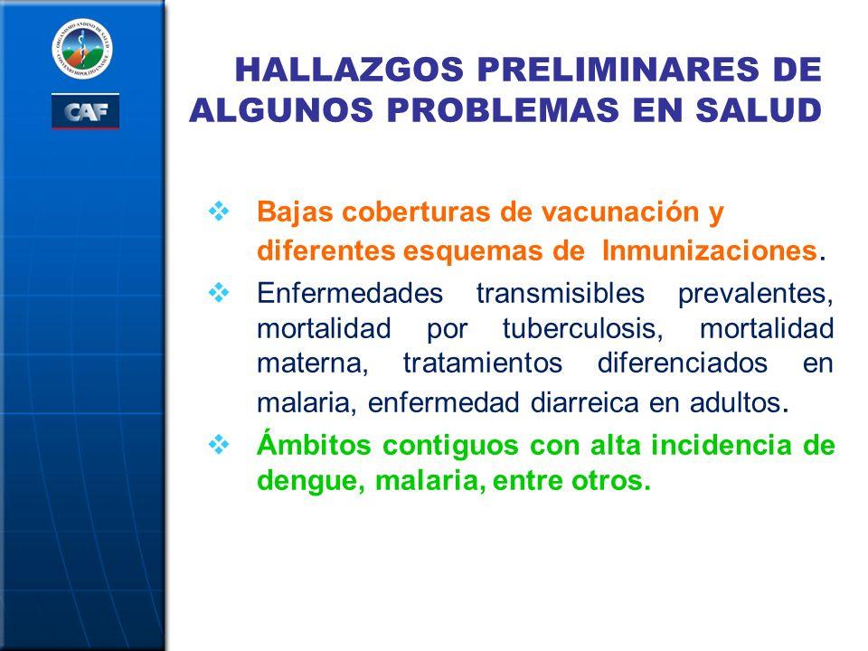 HALLAZGOS PRELIMINARES DE ALGUNOS PROBLEMAS EN SALUD