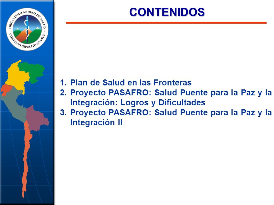 CONTENIDOS Plan de Salud en las Fronteras