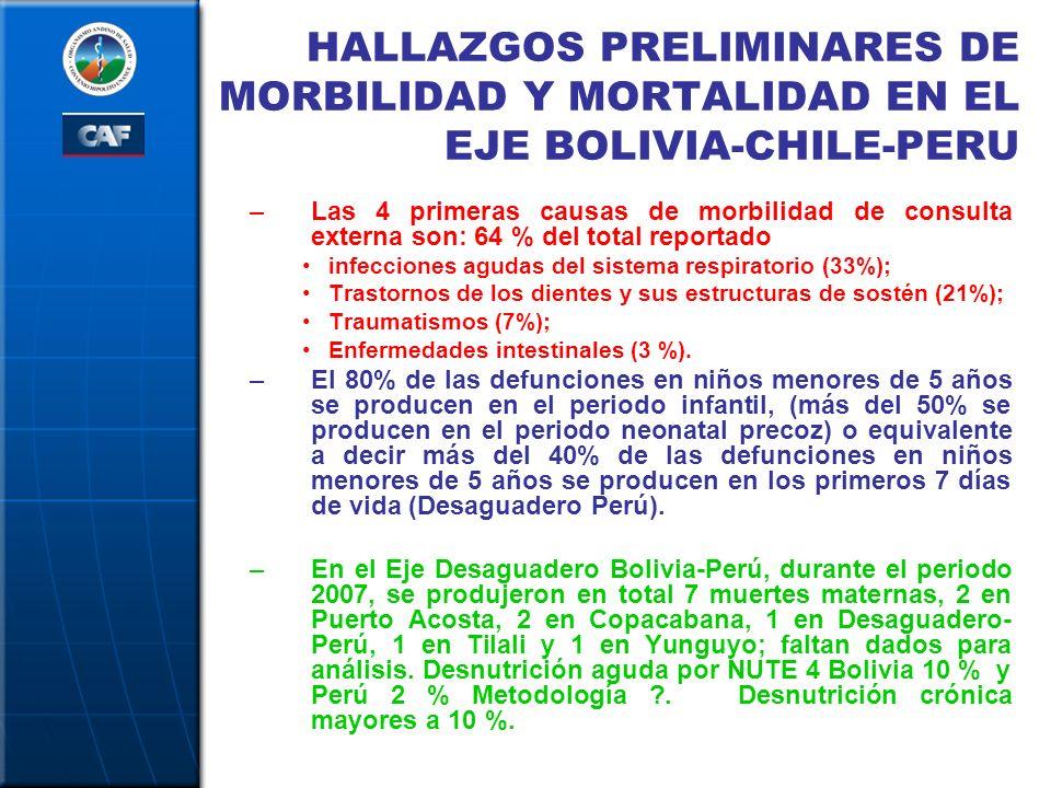 HALLAZGOS PRELIMINARES DE MORBILIDAD Y MORTALIDAD EN EL EJE BOLIVIA-CHILE-PERU