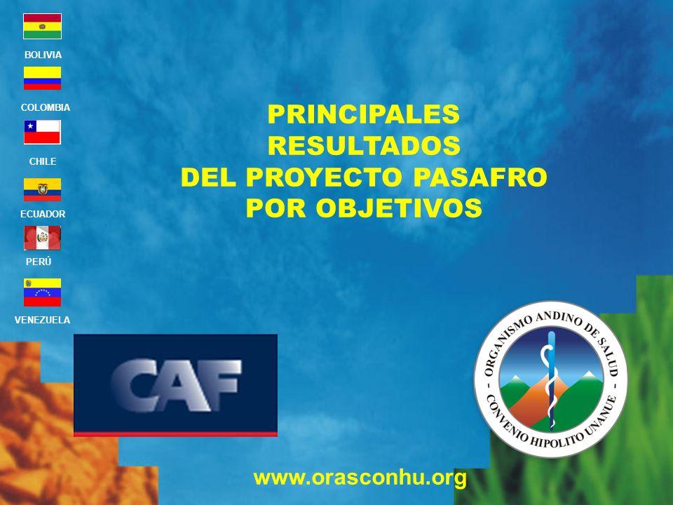 PRINCIPALES RESULTADOS DEL PROYECTO PASAFRO POR OBJETIVOS