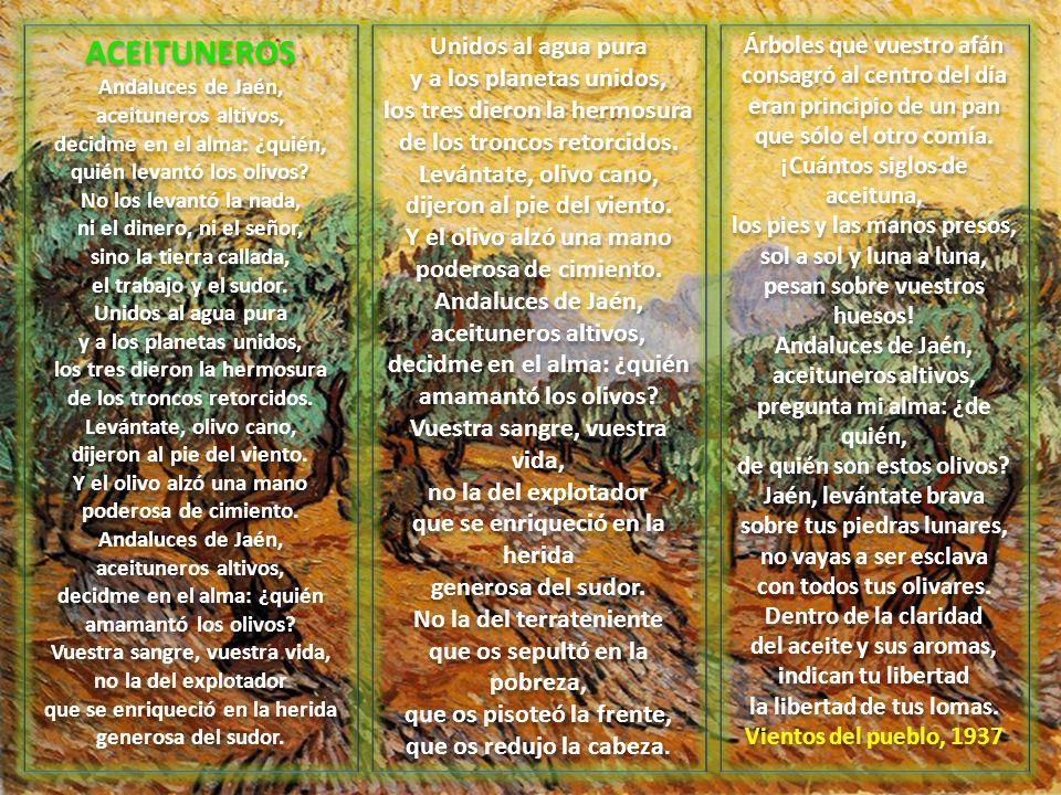 ACEITUNEROS Andaluces de Jaén, aceituneros altivos, decidme en el alma: ¿quién, quién levantó los olivos