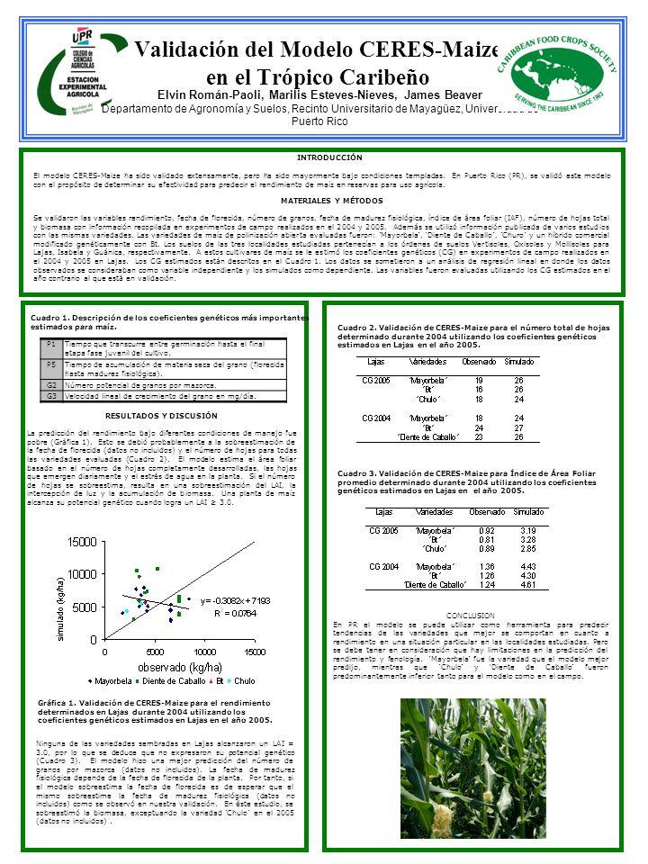 Validación del Modelo CERES-Maize en el Trópico Caribeño