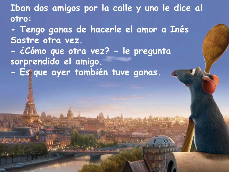 Iban dos amigos por la calle y uno le dice al otro: - Tengo ganas de hacerle el amor a Inés Sastre otra vez.