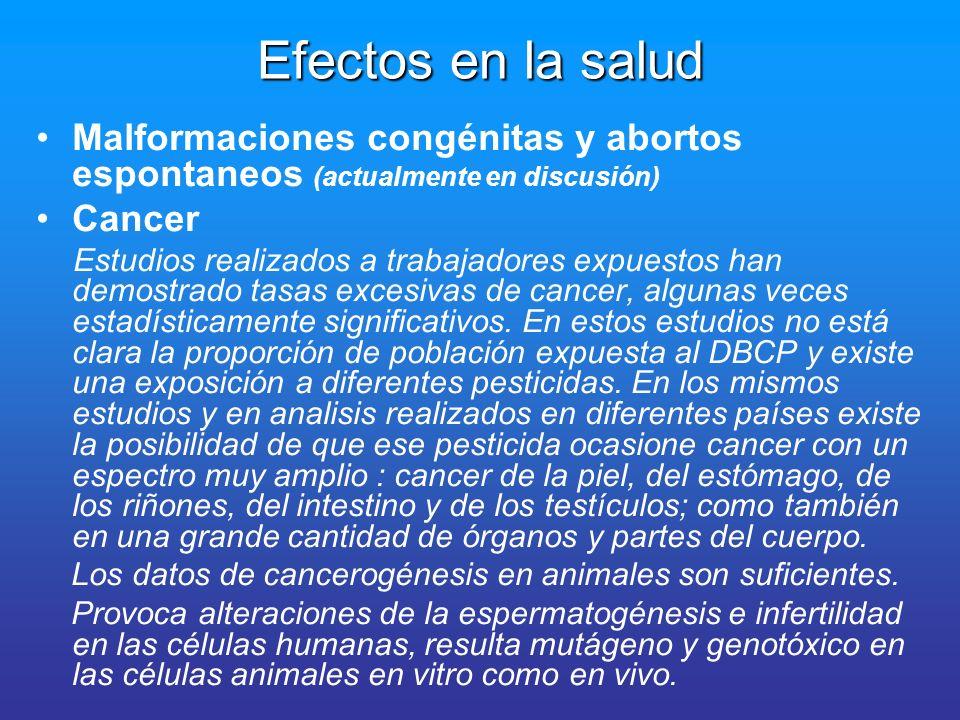 Efectos en la salud Malformaciones congénitas y abortos espontaneos (actualmente en discusión) Cancer.