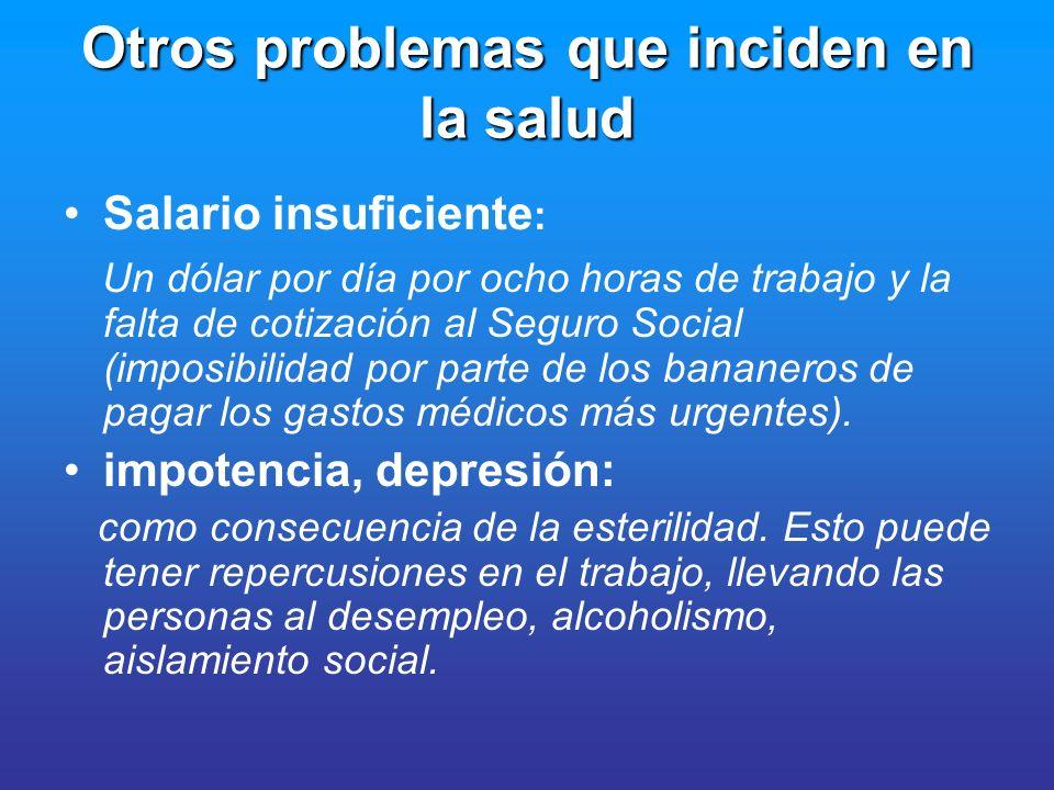 Otros problemas que inciden en la salud