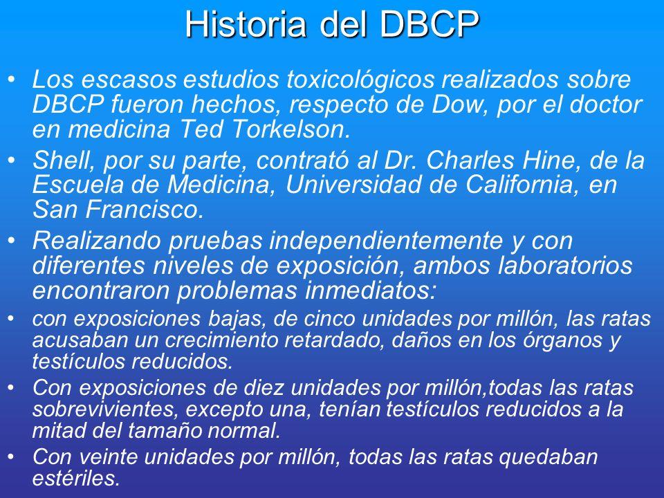 Historia del DBCPLos escasos estudios toxicológicos realizados sobre DBCP fueron hechos, respecto de Dow, por el doctor en medicina Ted Torkelson.