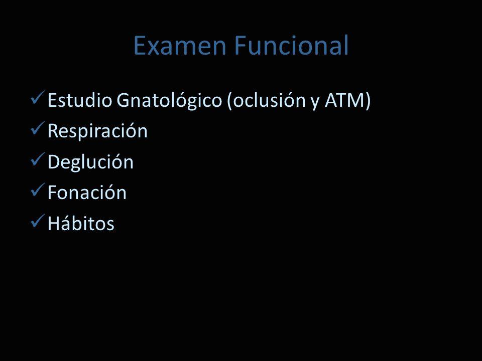 Examen Funcional Estudio Gnatológico (oclusión y ATM) Respiración