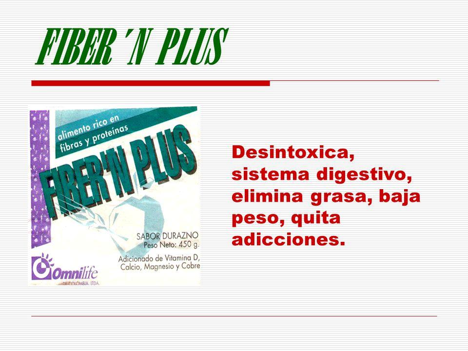 FIBER´N PLUS Desintoxica, sistema digestivo, elimina grasa, baja peso, quita adicciones. PRESENTACION LATA POR 450g.