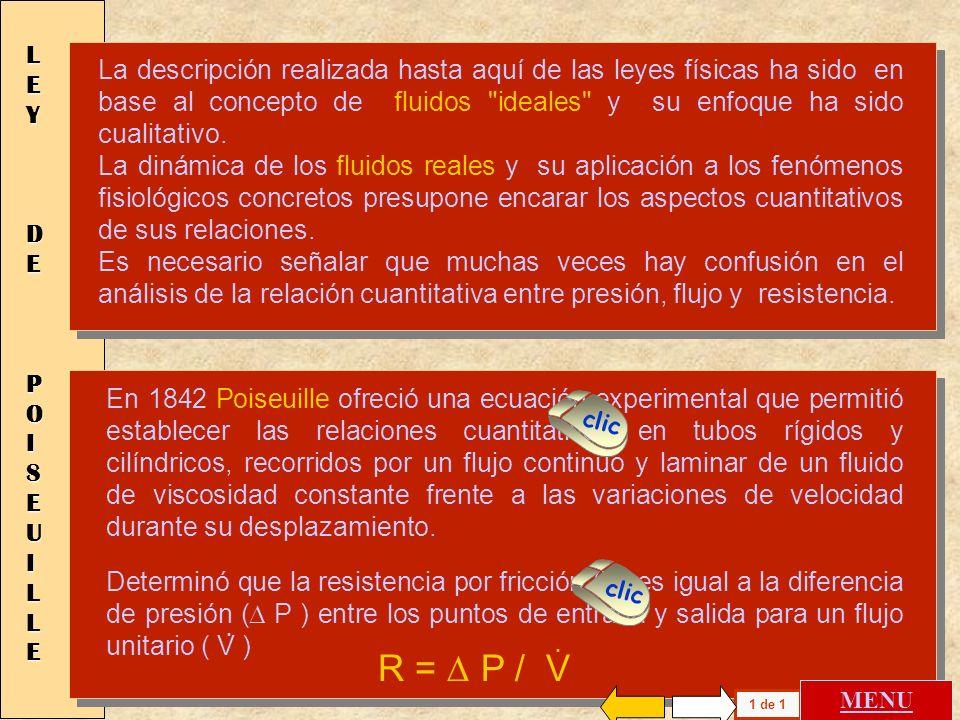 LEY DE POISEUILLE R = D P / V . .