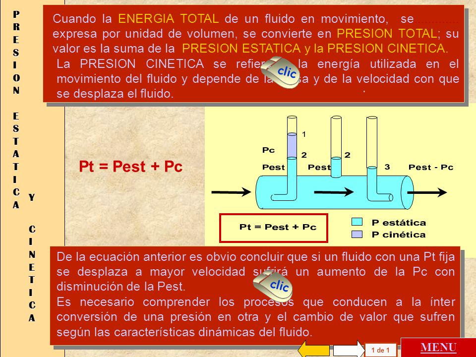 PRESION ESTATICA Pt = Pest + Pc Y CINETICA . .