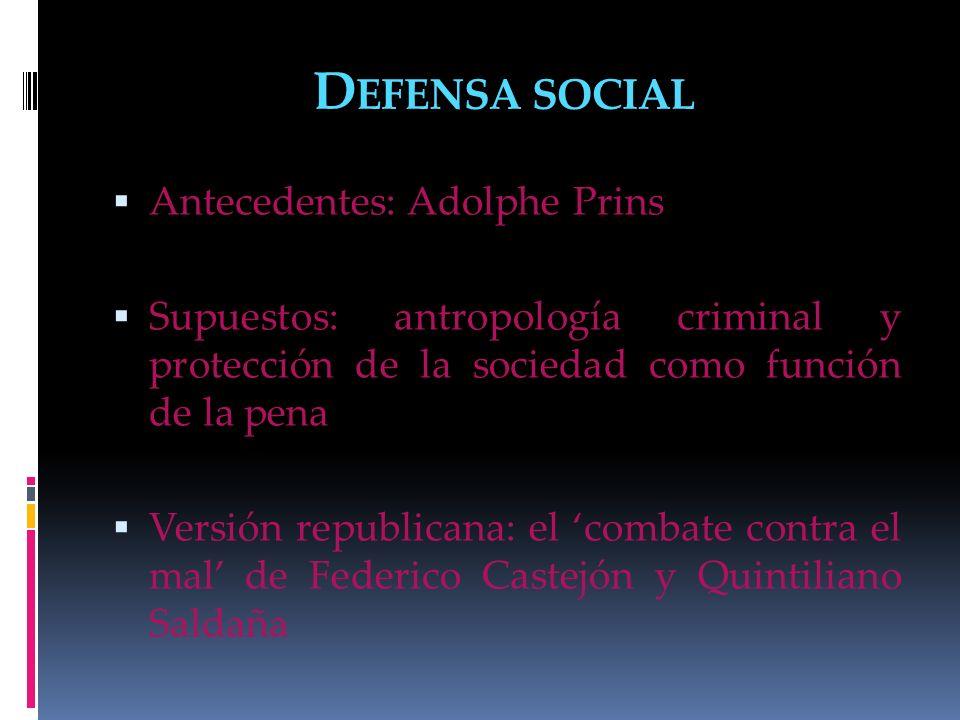 Defensa social Antecedentes: Adolphe Prins
