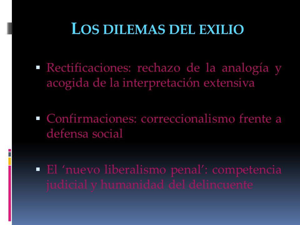 Los dilemas del exilio Rectificaciones: rechazo de la analogía y acogida de la interpretación extensiva.