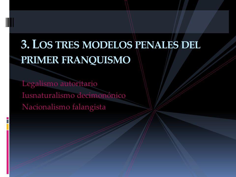3. Los tres modelos penales del primer franquismo
