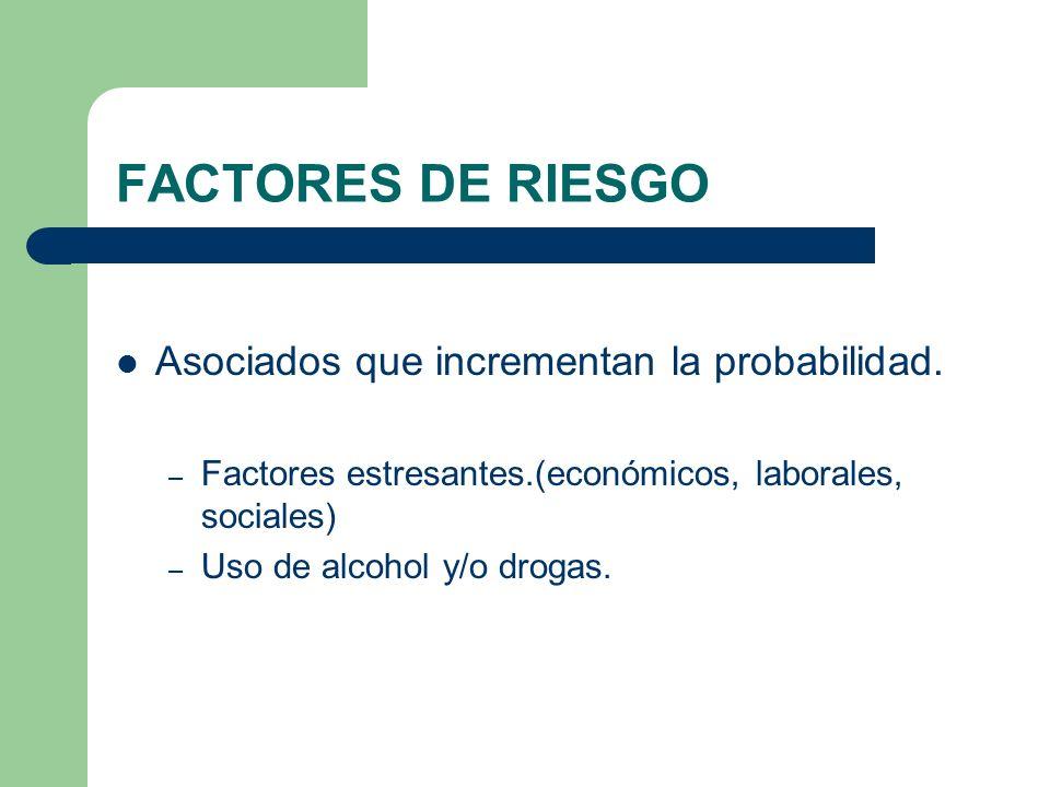 FACTORES DE RIESGO Asociados que incrementan la probabilidad.