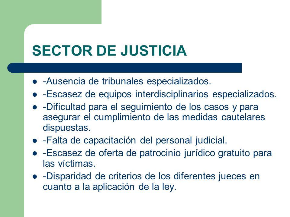 SECTOR DE JUSTICIA -Ausencia de tribunales especializados.