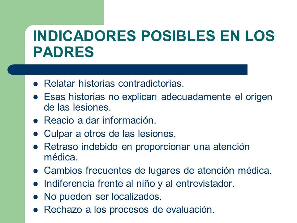 INDICADORES POSIBLES EN LOS PADRES