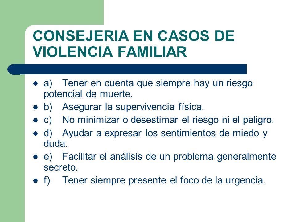 CONSEJERIA EN CASOS DE VIOLENCIA FAMILIAR