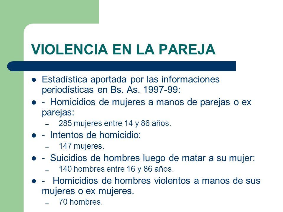 VIOLENCIA EN LA PAREJA Estadística aportada por las informaciones periodísticas en Bs. As. 1997-99: