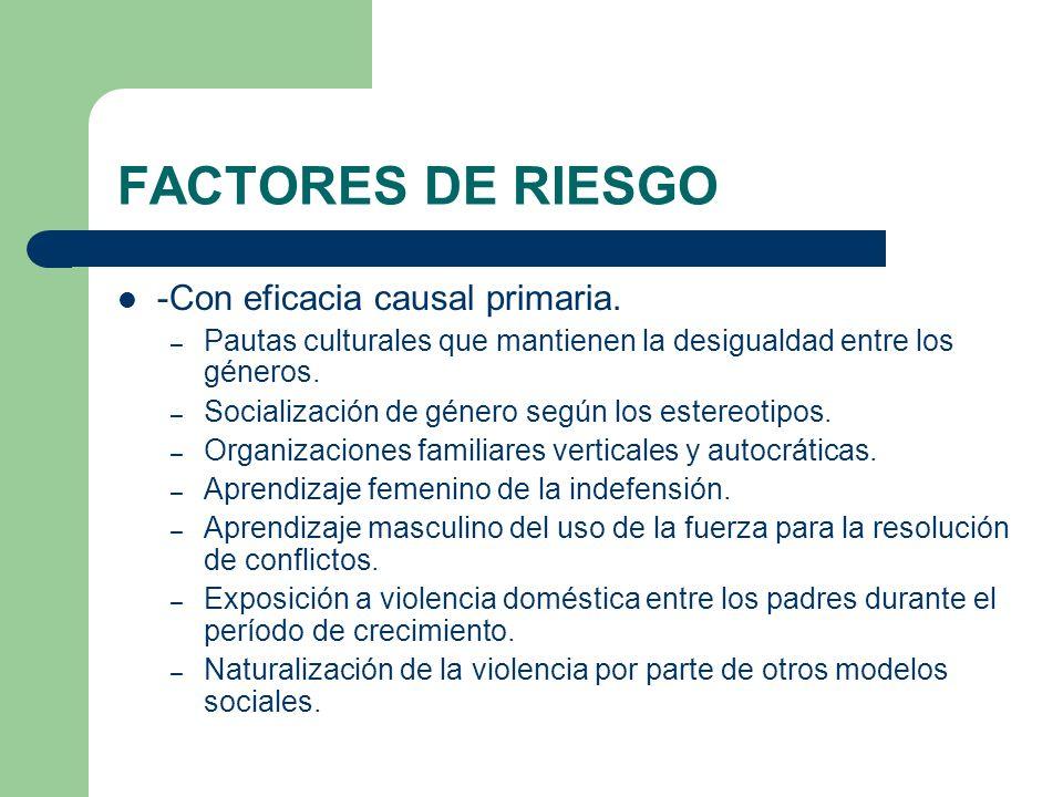 FACTORES DE RIESGO -Con eficacia causal primaria.