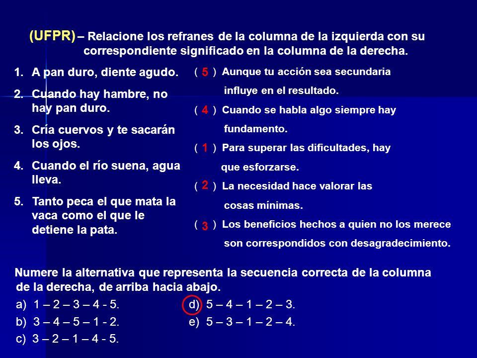 (UFPR) – Relacione los refranes de la columna de la izquierda con su