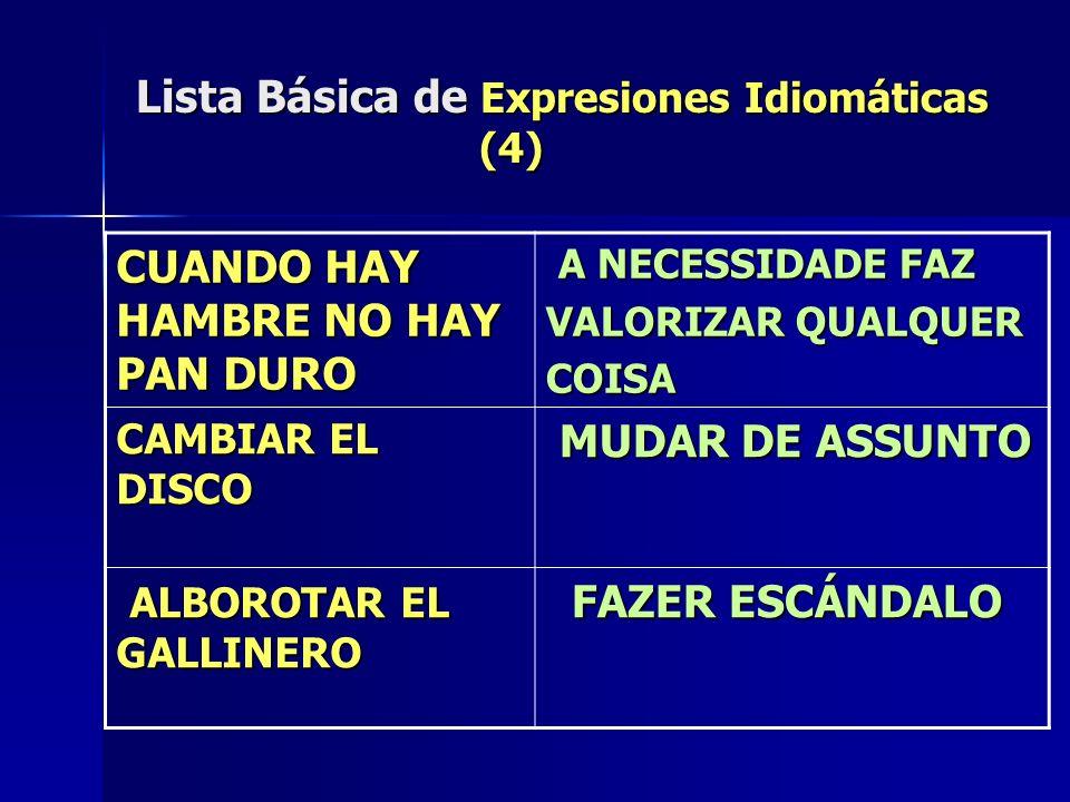 Lista Básica de Expresiones Idiomáticas (4)