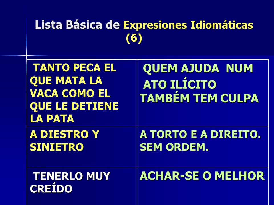 Lista Básica de Expresiones Idiomáticas (6)